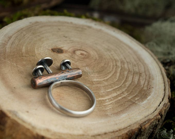 Mushroom Log Ring, Sterling Silver and Copper, Size 8 1/4