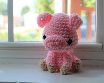 RTS Handmade Stuffed Pink Pig, Crochet Stuffy Teddy Amigurumi Barnyard Animal Farm Nursery Decor Photo Prop Animal Piglet Ready to Ship