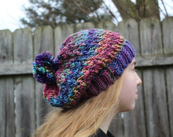 RTS Beanie Hat, Multicolored Slouchy Beanie, Ready to Ship, Crochet Purple Blue Pink Green Handmade Pompom Hat, Gray Knit Hat with pom pom