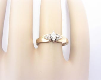 Vintage 10K Diamond Engagement Ring with Accents Size 7