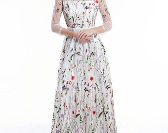 White Tulle Colorful Floral Embroidery Maxi Evening Dress/Floor Length Floral Prom Dress/ Sheer 3/4 Sleeves Nature Love Cocktail Dress D13