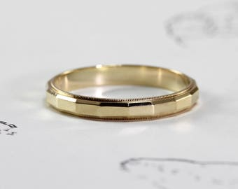 Vintage 14k Wedding Band, Yellow Gold Stacking Ring, Mid Century Faceted Design, Mens Jewelry