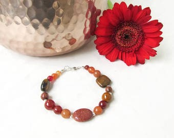 Semi precious gemstone bracelet, mixed brown gold gemstones, red carnelian, goldstone beaded bracelet, gift for her, Handmade in the UK