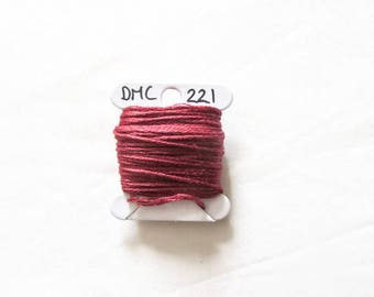 Dark pink embroidery floss,  DMC 221, stranded embroidery thread cross stitch supplies, stranded cotton