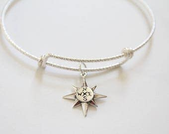 Sterling Silver Bracelet with Sterling Silver North Star Charm, North Star Bracelet, North Star Charm Bracelet, North Star Pendant Bracelet
