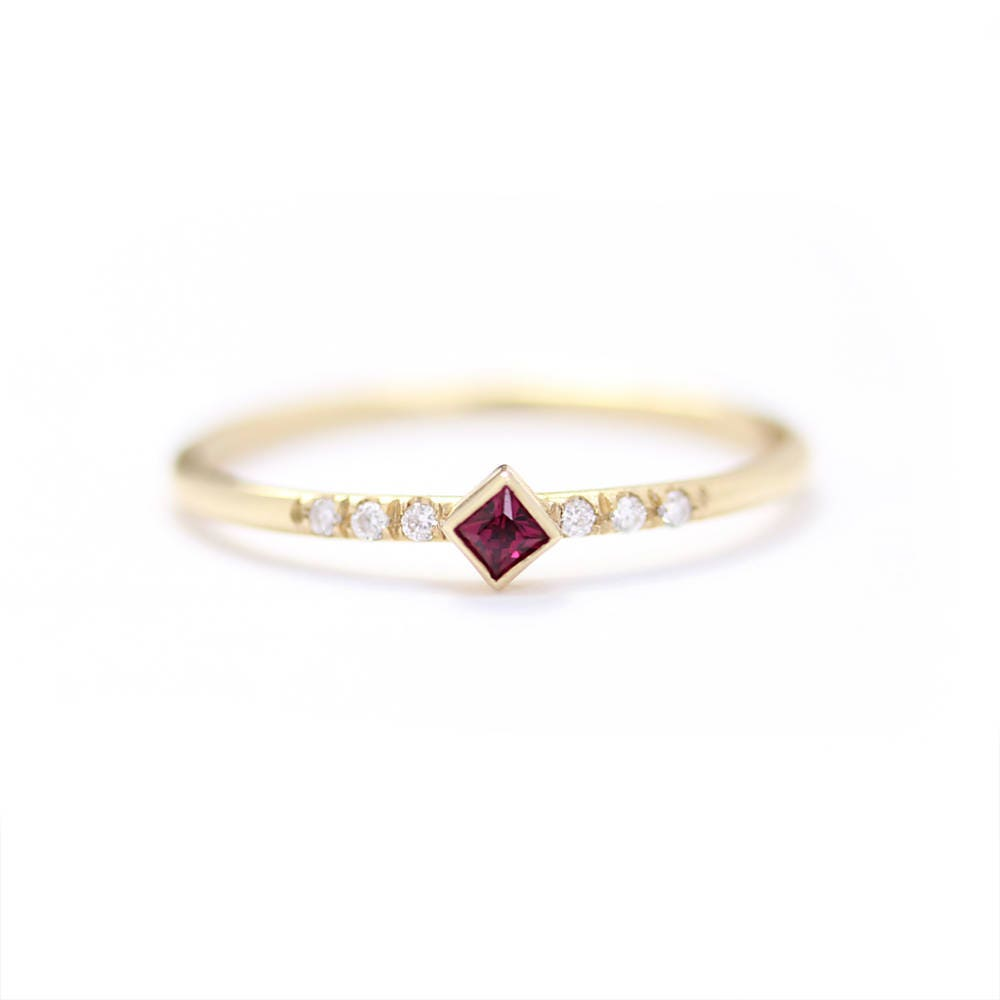 princess cut ruby engagement ring in 14k goldthin simple