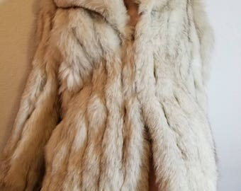 FREE  SHIPPING  Silver  Fox  fur  and Leather Jacket