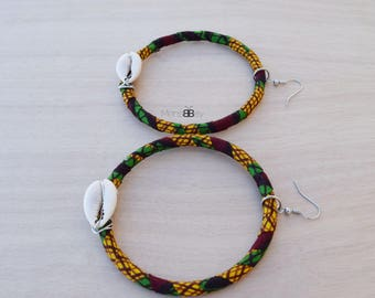African Fabric Hoop Earrings, Fabric Earrings, Textile Jewellery, Gift for women, Tribal Hoop Earrings
