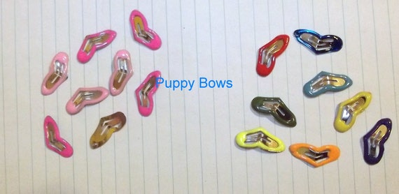 Puppy Bows ~Barrette snap clip TINY enamel HEARTS girl and boy colors shape bow dog Maltese  pink multi ~Usa seller
