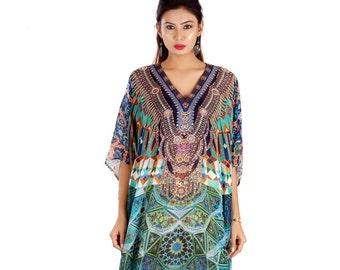 One size fits  must 100% silk kaftan 255