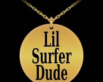 Lil Surfer Dude Engraved Necklace