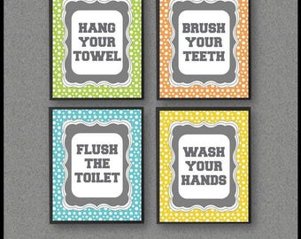 Hang Your Towel, Wash Your Hands Sign, Flush The Toilet, Brush Your Teeth