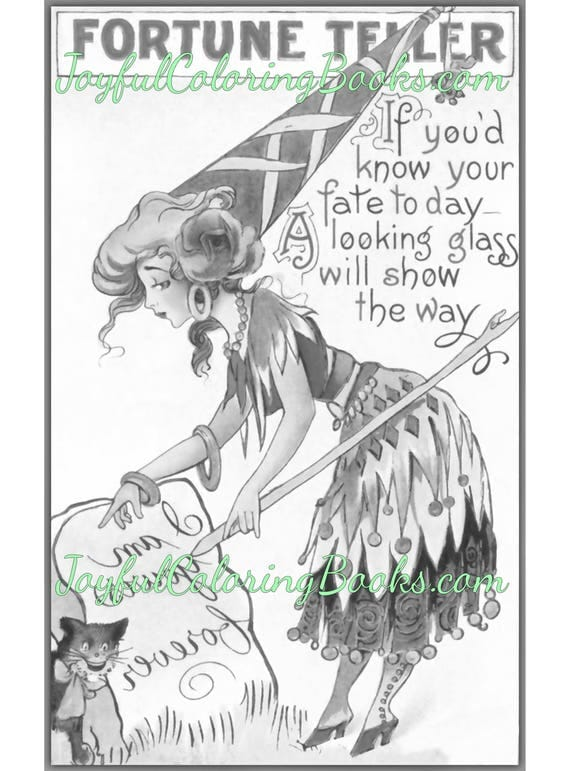 4 Halloween Fortune Teller Grayscale Coloring Printable Posters Vintage (Set 3)