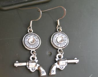 9mm, 40, 45, 38 Special Caliber Silver Bullet Casing Dangle Earrings with Revolver Pistols
