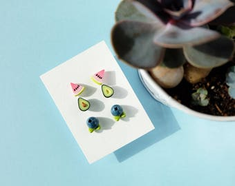 Summer earrings set, Tropical jewelry, Mix and match studs, Watermelon, avocado, blueberry, Polymer clay earrings, Mismatched earrings
