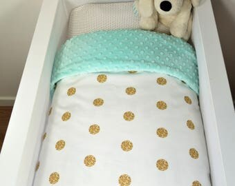 Bassinet quilt OR Bassinet and fitted sheet set - White with gold glitter dots AND mint minky