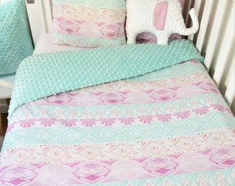 Aqua, pink, purple watercolour tribal nursery set - cot quilt, bassinet, fitted sheet, cushions, bunting, floor mat, nursery set items
