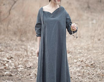 Linen dress - Spring/Autumn dress - Women long dress - Long sleeves Dress - Raw edges collar - Made to order