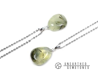 Choose your own! Prehnite Necklace - Green Prehnite Pendant Necklace, Gemstone Nugget Necklace, Healing Crystal Necklace, Gift for Her
