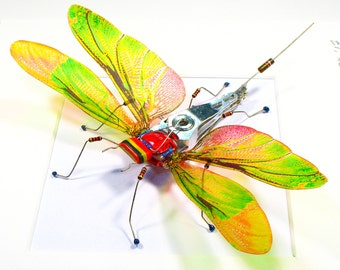 Electrickery Bug Dragonfly Insect Collector Translucent Wings Mother's Day Gift For Husband Home Decoration Office Art Geek Sculpture
