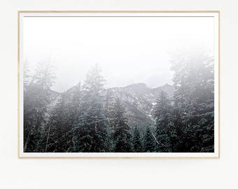 Mountains Forest Wall Decor Nordic Art Print Poster Scandinavian Monochrome Black White Nature Wilderness Minimalist Snow Pine Trees 1043
