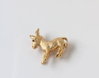 Gold Tone Donkey Brooch - Tiny Trifari Gold Donkey Brooch