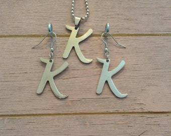 """Letter """"K"""" Necklace and Earring Set"""