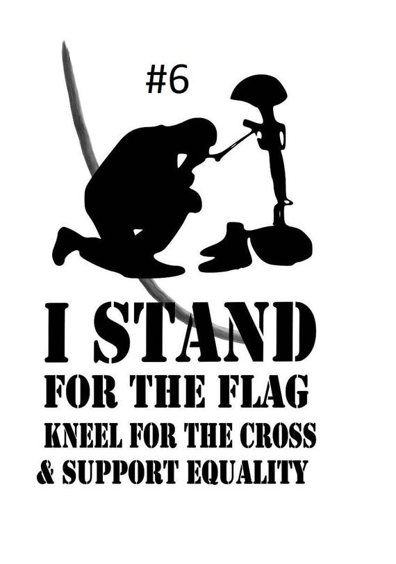 I stand for the flag, cross, god, stand, kneel, equality, US Flag decal, God stickers, Support, equality decals, cross stickers, solider