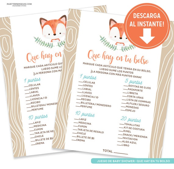 Fox Baby Shower Whats In Your Purse Baby Shower Game In Spanish