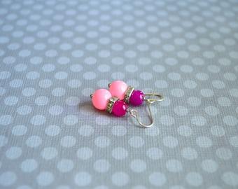 Earrings. Jewelry. Pink Vintage Earrings. Handmade Earrings. Rhinestone Pink Earrings. Gift For Her. Graduation Gift. Gift Under 20 Dollar.