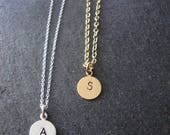 S initial necklace, intial necklace gold, best selling items, gold letter necklace, gold disc necklace, S letter necklace, initial jewelry