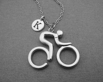 Cycling Necklace, Cycling Keychain, LARGE Cyclist Necklace, Gift for Cycler, Personalized Bicyclist Initial Necklace, Bike Bicycle Rider