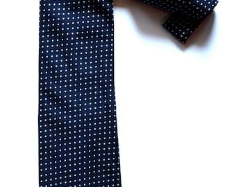 Vintage Navy Blue White Polka Dot Necktie / 1960's Pagoni Silk Necktie / Navy White Polka Dot Standard Width Necktie / Italian Blue Necktie