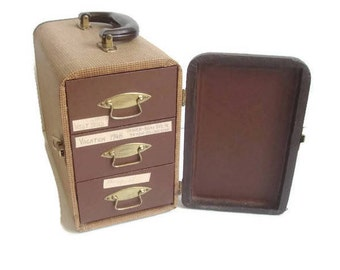 Barnett and Jaffe Slide Case, Wood Carrying Case, 3 Drawer, Retro Storage, Holds 300 Slides, Brown and Tweed