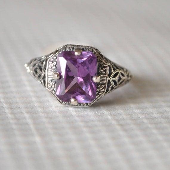 Sterling Silver Alexandrite Art Deco Ring Sz 6  #9812