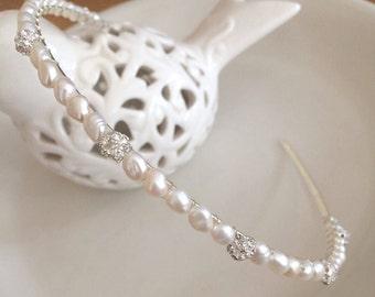 Freshwater pearl and diamante bridal headband real Pearl wedding hairband simple headpiece bridal tiara something blue bridesmaid head band