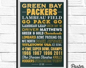 Green Bay Packers Art - Canvas or Poster
