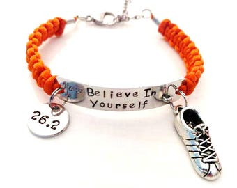 Believe in Yourself Running Sneaker 5k 10k 13.1 26.2 RUN Hand Stamped Charm Bracelet You Choose Your Running Charm and Cord Color(s)