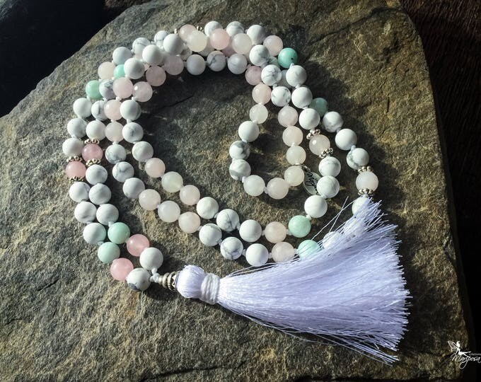 Knotted Mala beads Howlite Amazonite Rose Quartz White tassel mantra japa meditation necklace 8mm bohemian yoga jewelry handmade