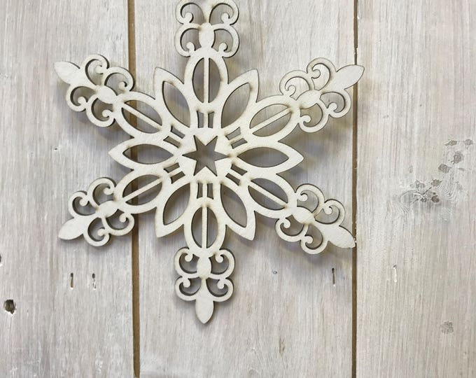 Snowflake Wooden Hanging  Home or Christmas Tree Decoration