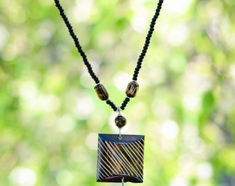 Double pendant necklace handmade in Kenya