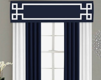 Greek Key Valance Cornice Board Pelmet Box Window Treatment in Navy Blue with White Ribbon Banding Trim - Custom Valance Curtain Topper