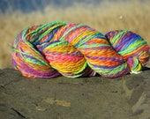 Handspun & Painted Merino Wool Yarn - Brilliant Rainbow Melange, Bulky, 4 oz., 125 g., 170 yards