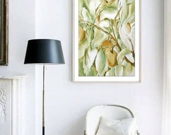 Fruit Watercolor Print, Fruit Art Print, Apple Art, Apple Painting,Kitchen Watercolor Painting, Country Kitchen Wall Decor,Yellow Green Tree