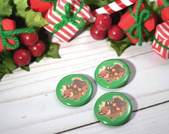 Kawaii Rudolph the Reindeer Christmas Pinback Button or Magnet