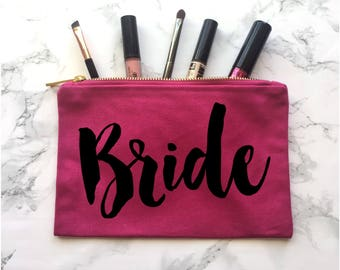 Bride Makeup Bag, Engagement Gift, Wedding Gift, Wedding Apparel, Bride tote, Bride Purse, Bride Makeup Bag