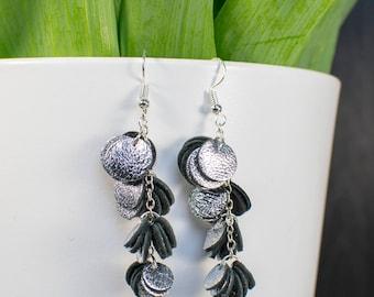 HILPU earrings - Silver foil reindeer leather cluster earrings - Dangle earrings - Handmade earrings
