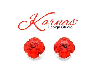 LIGHT SIAM 12mm Cushion Cut Earrings Swarovski Elements *Choose Your Finish & Style *Karnas Design Studio™ *Free Shipping*