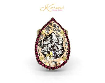 MOSAIC PINK 30x20mm Pear Adjustable Statement Ring Made With Swarovski Crystal *Choose Your Finish *Karnas Design Studio™ *Free Shipping