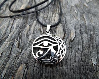Eye of Horus Eye of Ra Pendant Silver Third Eye Sterling 925 Ancient Egyptian Symbol Magic Spiritual Protection